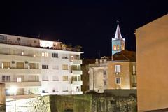 Zadar urban zone night scene Stock Photos