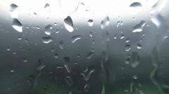 Rain drops on the window glass Stock Footage