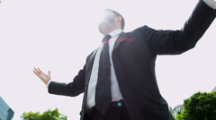 Caucasian Male Financial Broker Celebrating Business Achievements Stock Footage