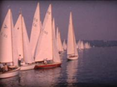 8MM regatta sailing boat on lake - stock footage