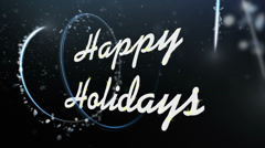 Happy Holidays Greeting Text Under Falling Snow Loop Stock Footage