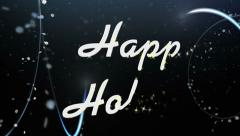Happy Holidays Greeting Text Under Falling Snow Stock Footage
