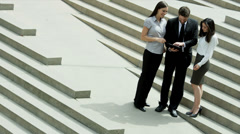 Male Female Business People Modern Technology Outdoors City Stock Footage