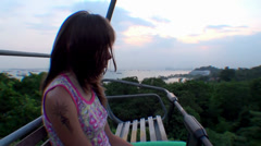 Lonely girl rides on the cableway Stock Footage