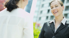 Female Multi Ethnic Business People Handshake - stock footage