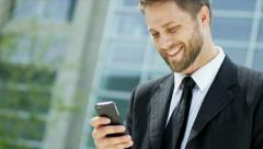 Young Caucasian Businessman Wireless Hot Spot Outdoors Downtown Stock Footage