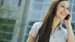 Smart Caucasian Businesswoman Outside Modern City Buildings - stock footage