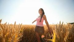 Woman in Grainfield Stock Footage