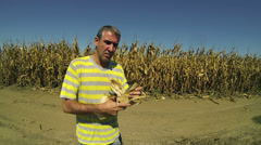 Farmer Checking his Corn Crop Stock Footage