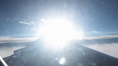 View of Sun From Airplane Seat on Wing Stock Video Stock Footage