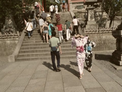 Tourists Walking Up Old Temple in Kyoto Japan Stock Video Stock Footage