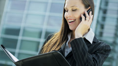 Young Businesswoman Smart Phone Outside Modern City Offices - stock footage