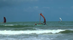 Traditional fishing boats (Oruva Boat)  in the sea, Sri Lanka. Stock Footage
