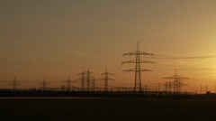 Sunset with Power Poles - stock footage