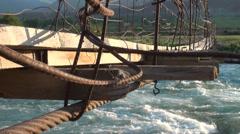 Details of wooden footbridge in Kyrgyz village Stock Footage