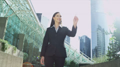 Caucasian Businesswoman Outdoors Using Blank Touch Screen Interface - stock footage
