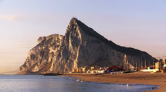 Gentle daybreak at  the Rock of Gibraltar Stock Footage