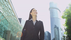 Young Female Financial Advisor Downtown Blank Touch Screen Stock Footage