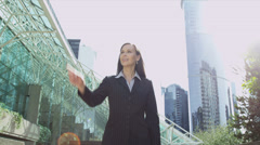 Female Broker Financial Investment Blank Touchscreen Technology Stock Footage