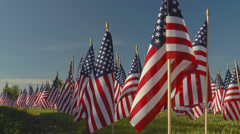 Large display of small American flags against blue sky Stock Footage