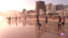 034-Rio-De-Janeiro-Soccer-Ipanema-Beach-Futbol Stock Footage