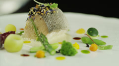 Chef Garnishing Smoked Salmon Dish in Luxury Restaurant 4K Stock Footage