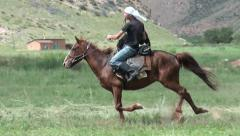 Galloping horse during game of 'Ulak Tartysh' in Kyrgyzstan (handheld video) Stock Footage
