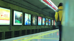 Train arrives to subway station Stock Footage