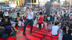 Duffy Square at night Stock Footage