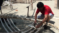 Yurt workshop, carpenter, Kyrgyzstan, Central Asia Stock Footage
