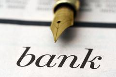 bank and pen - stock photo