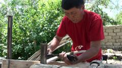Handwork in Kyrgyzstan Stock Footage