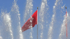 The red flag and the fountain,The Tiananmen Stock Footage