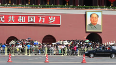 cars running on Chang'an Avenue,beside Tiananmen - stock footage