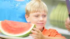 Close Up Blonde Caucasian Boy Healthy Eating Fresh Watermelon - stock footage