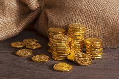 doubloons and sack - stock photo