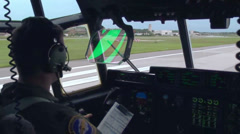C130 - Take Off Cockpit View 01 - stock footage