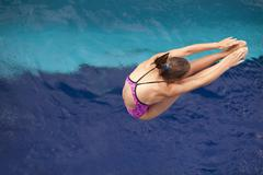 diving board jump - stock photo