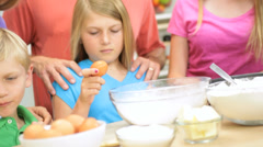 Parents Children Kitchen Baking Homemade Cakes Close Up - stock footage