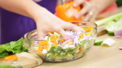Blonde Caucasian Girls Mom Kitchen Organic Vegetables Hands Only Stock Footage
