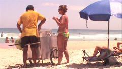 013-Brazil-Rio-De-Janeiro-Ipanema-People-Venders-Beach Stock Footage