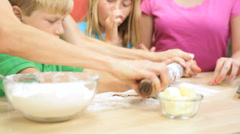 Family Group Blonde Caucasian Parents Children Homemade Baking - stock footage
