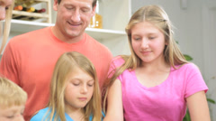 Blonde Caucasian Family Together Kitchen Baking Close Up Stock Footage