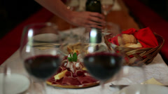 Pouring wine in restaurant Stock Footage