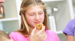 Close Up Blonde Caucasian Mother Daughter Eating Cookies Stock Footage