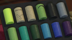 Colored synthetic corks - stock footage