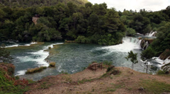 Panoramic shot of rapids and small cascades on Krka river-Croatia Stock Footage