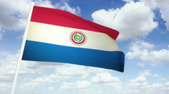 Flag Paraguay 02 Stock Footage