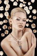 the blond with necklace - stock photo