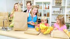Young Blonde Caucasian Children Parents Kitchen Fresh Fruit Stock Footage